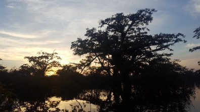 Zonsondergang boven de rivier Cuyabeno